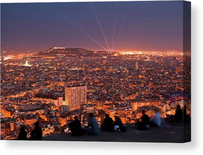 Catalonia Canvas Print featuring the photograph Barcelona At Night With People by Artur Debat