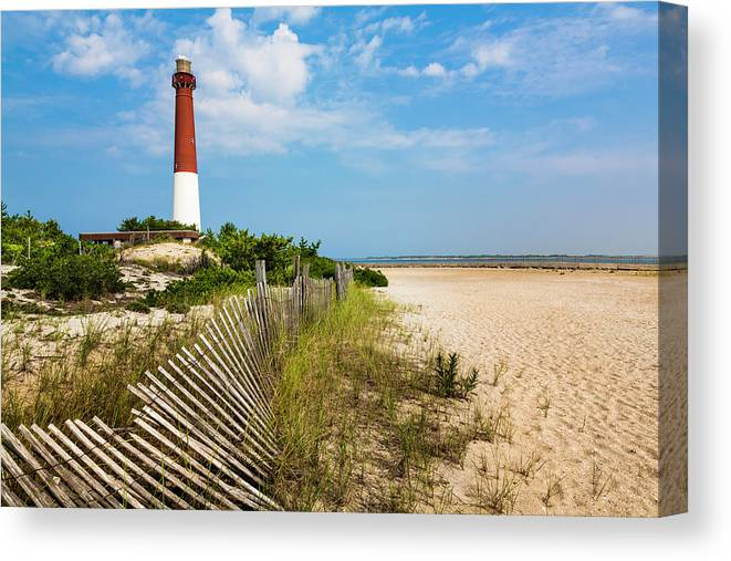 Water's Edge Canvas Print featuring the photograph Barnegat Lighthouse, Sand, Beach, Dune by Dszc