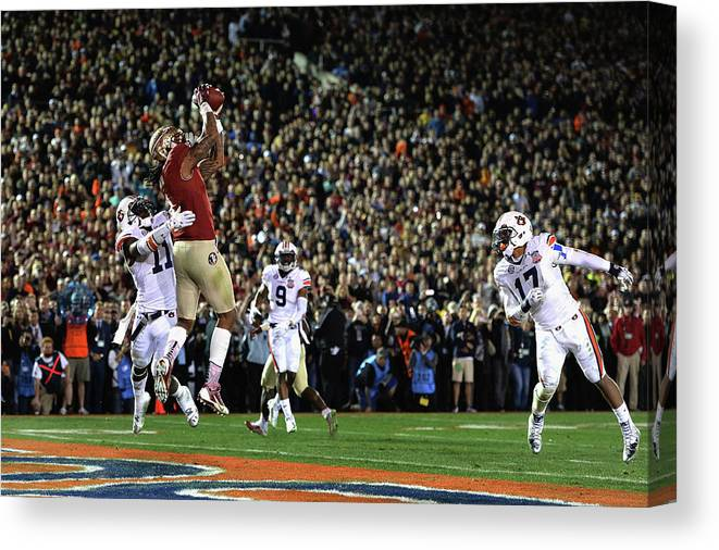 Rose Bowl Stadium Canvas Print featuring the photograph Bcs National Championship - Florida by Harry How