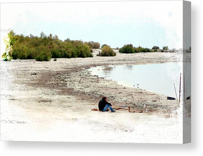 Watercolor Canvas Print featuring the photograph Beach Goers-The Salton Sea in Digital Watercolor by Colleen Cornelius