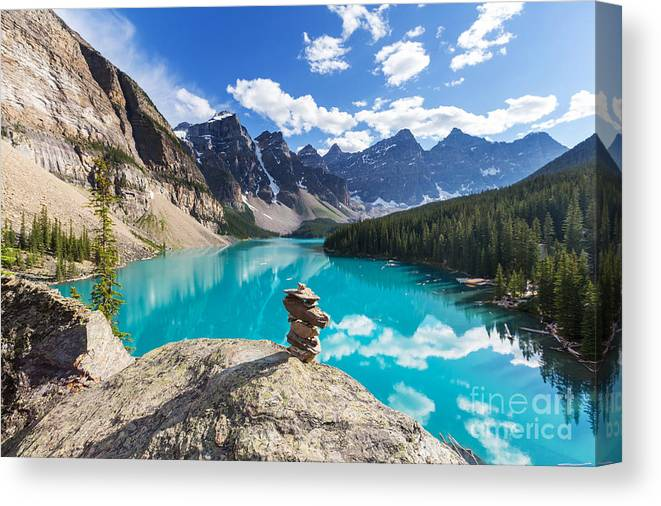 Canadian Canvas Print featuring the photograph Beautiful Moraine Lake In Banff by Galyna Andrushko