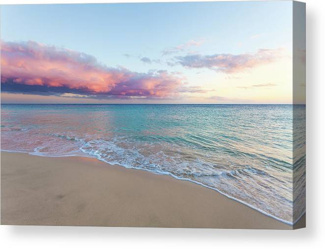 Water's Edge Canvas Print featuring the photograph Beautiful Seascape, Beach And Ocean At by Zodebala