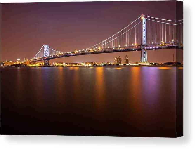 Built Structure Canvas Print featuring the photograph Ben Franklin Bridge by Richard Williams Photography