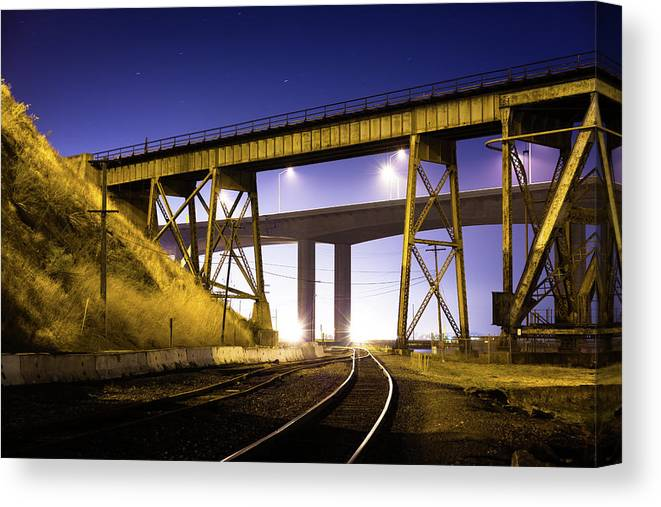 Drawbridge Canvas Print featuring the photograph Benicia Tracks by Hal Bergman Photography