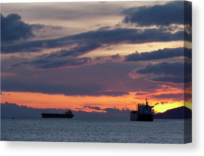 Scenics Canvas Print featuring the photograph Big Boat Silhouettes by Visualcommunications