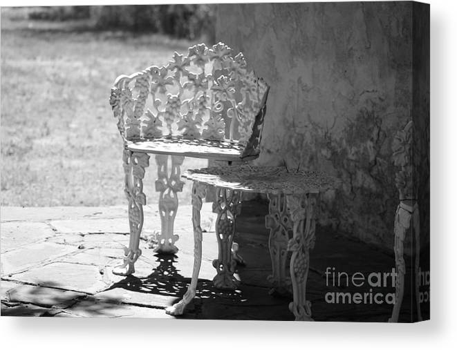 Black And White Canvas Print featuring the photograph Black and White Seating Area Fort Stanton New Mexico by Colleen Cornelius