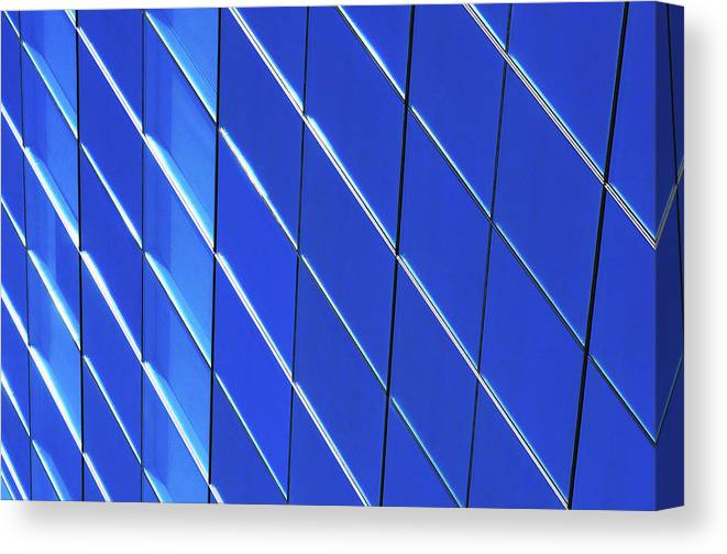 Outdoors Canvas Print featuring the photograph Blue Glass Modern Building by Joelle Icard