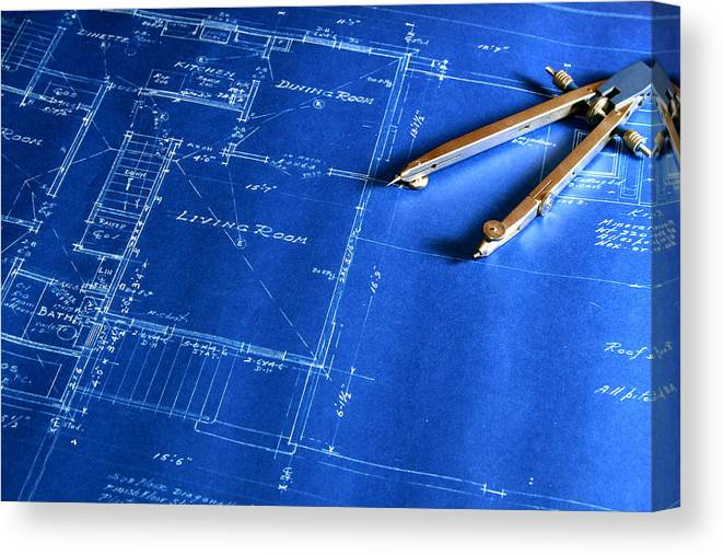 Plan Canvas Print featuring the photograph Blueprint With A Drafting Compass by Zuki