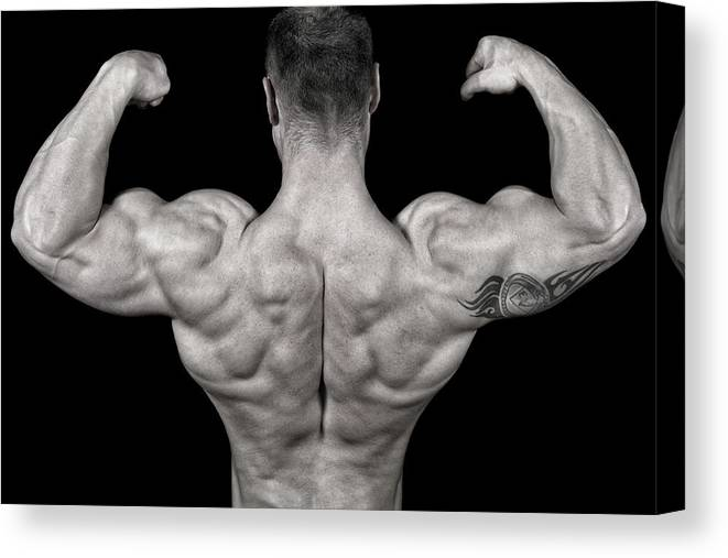 Toughness Canvas Print featuring the photograph Bodybuilder Posing by Vuk8691