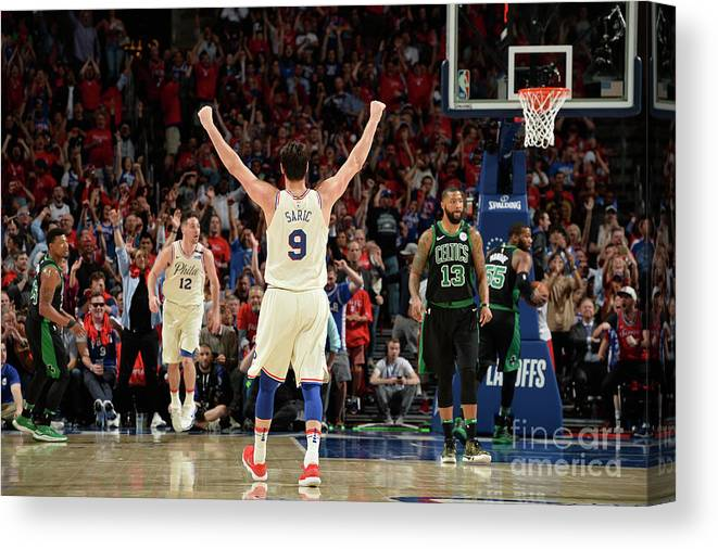 Playoffs Canvas Print featuring the photograph Boston Celtics V Philadelphia 76ers - by David Dow