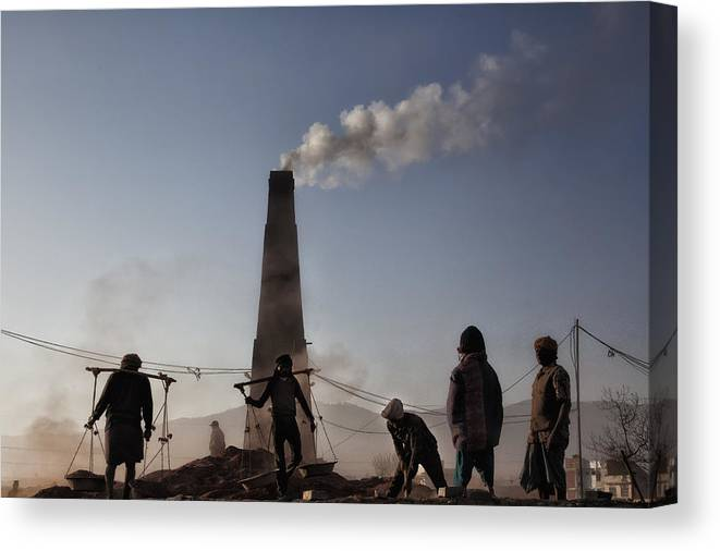 Nepal Canvas Print featuring the photograph Brick Factory (1): Keeping The Chimney Burning by Yvette Depaepe