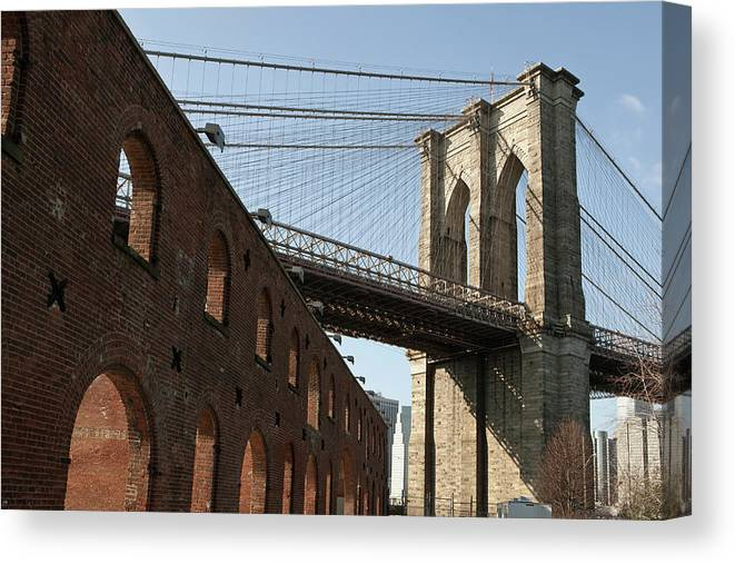 Arch Canvas Print featuring the photograph Brooklyn Bridge & Empire Fulton Ferry by Just One Film