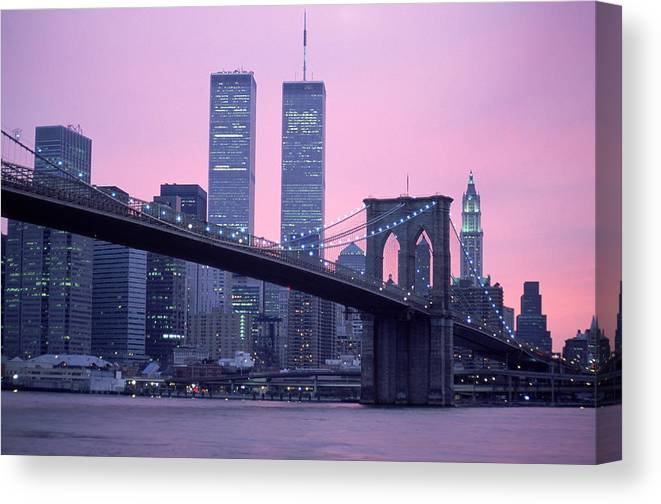 Dawn Canvas Print featuring the photograph Brooklyn Bridge, Twin Towers, Nyc, Ny by Barry Winiker