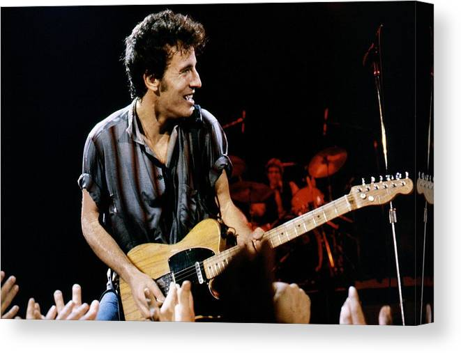 Bruce Springsteen Canvas Print featuring the photograph Bruce Springsteen Live by Larry Hulst