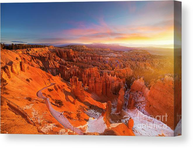 Scenics Canvas Print featuring the photograph Bryce Canyon National Park At Sunset by Ankit Saxena