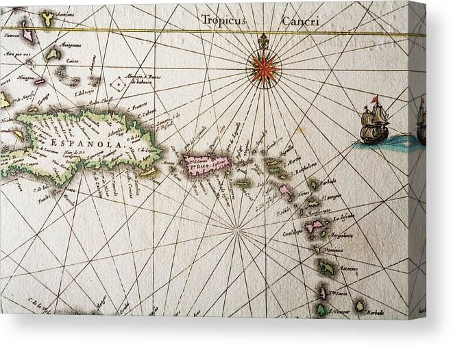 Engraving Canvas Print featuring the digital art Carribean Islands by Goldhafen