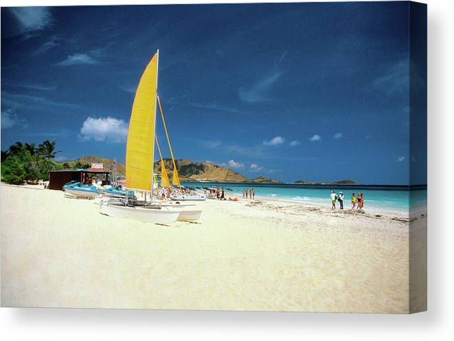 Orient Beach Canvas Print featuring the photograph Catamarans And People On Martin Orient by Medioimages/photodisc