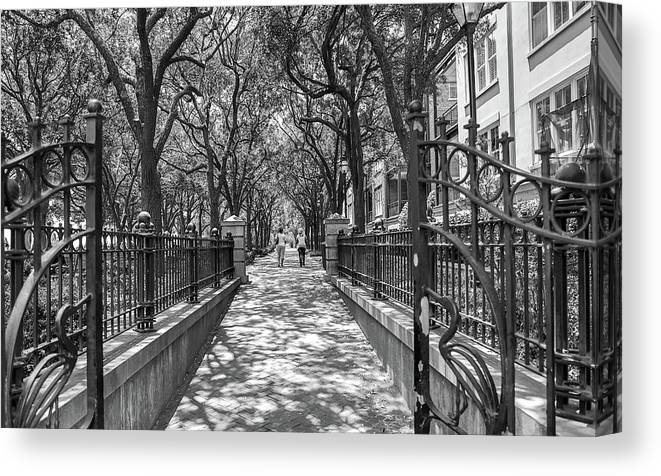 Charleston Riverfront Park Black And White Canvas Print featuring the photograph Charleston Riverfront Park Black And White by Dan Sproul