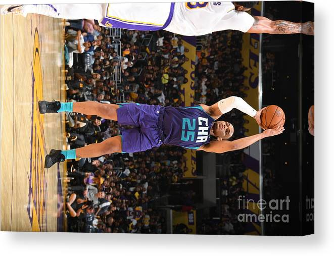 Nba Pro Basketball Canvas Print featuring the photograph Charlotte Hornets V Los Angeles Lakers by Andrew D. Bernstein