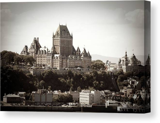 Copper Canvas Print featuring the photograph Chateau Frontenac From Levis, Quebec by Onfokus