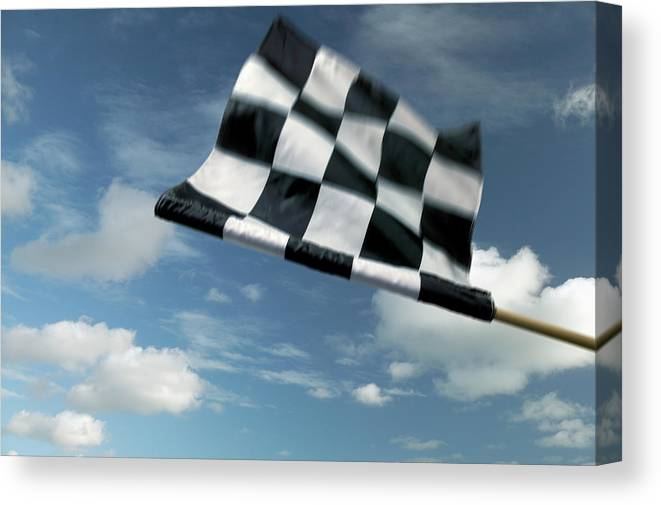Working Canvas Print featuring the photograph Checkered Flag by James W. Porter