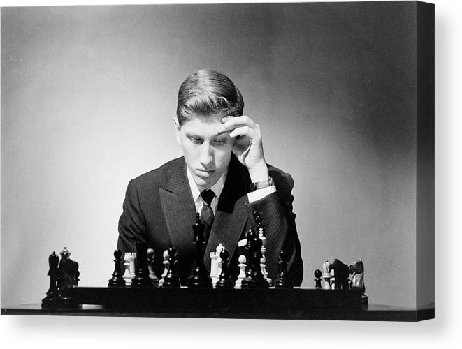Chess Canvas Print featuring the photograph Chess Champion Robert J. Fisher Playing by Carl Mydans