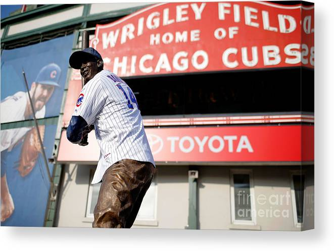 American League Baseball Canvas Print featuring the photograph Chicago Cubs Fans Watch Wild Card Game by Jon Durr