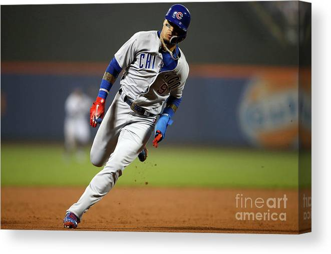 American League Baseball Canvas Print featuring the photograph Chicago Cubs V New York Mets by Adam Hunger