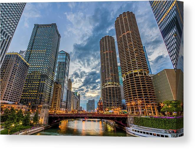 Chicago River Canvas Print featuring the photograph Chicago River Sunset by Carl Larson Photography