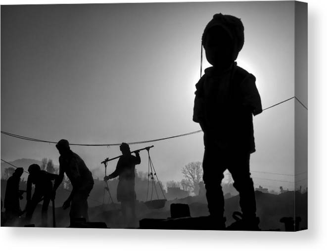 Nepal Canvas Print featuring the photograph Child Labour Is Just Not Fair by Yvette Depaepe