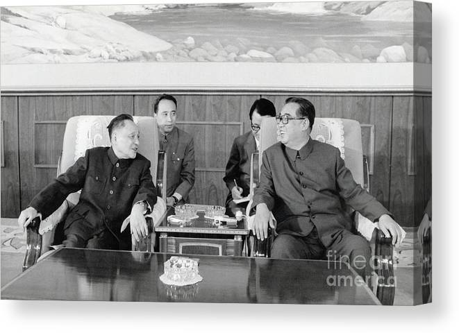People Canvas Print featuring the photograph Chinese And Korean Leaders by Bettmann