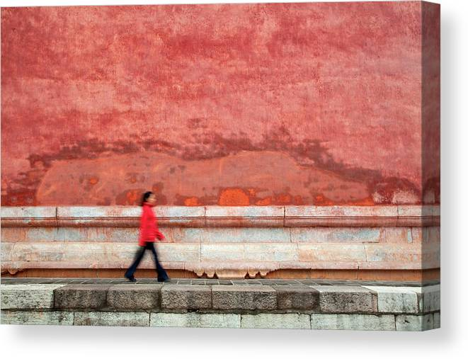 People Canvas Print featuring the photograph Chinese Young Lady Walking By Monument by Grant Faint