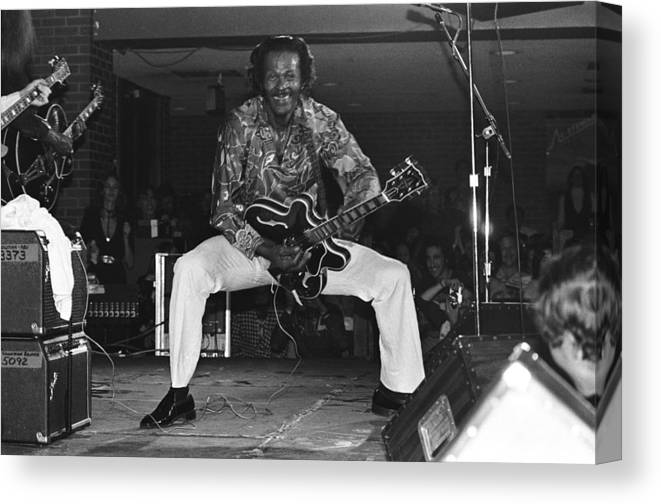 1980-1989 Canvas Print featuring the photograph Chuck Berry Performs Live by Richard Mccaffrey