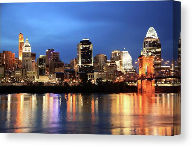 Downtown District Canvas Print featuring the photograph Cincinnati Skyline, Ohio by Veni