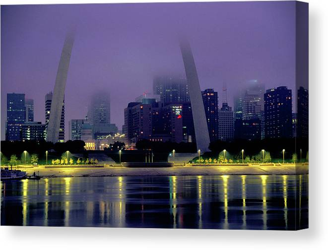 Arch Canvas Print featuring the photograph City Skyline In Fog, With Gateway Arch by John Elk Iii