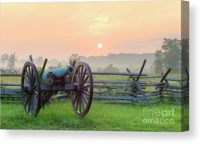 Scenics Canvas Print featuring the photograph Civil War Cannon by Tetra Images