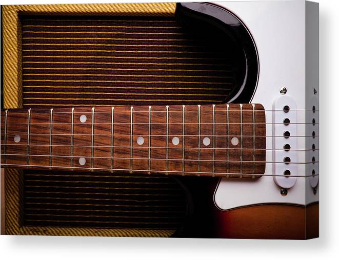 Rock Music Canvas Print featuring the photograph Classic Electric Guitar And Amp Still by Halbergman