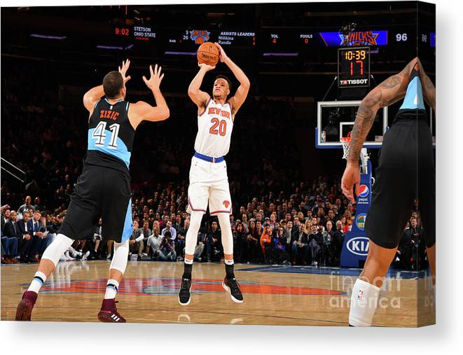 Nba Pro Basketball Canvas Print featuring the photograph Cleveland Cavaliers V New York Knicks by Jesse D. Garrabrant