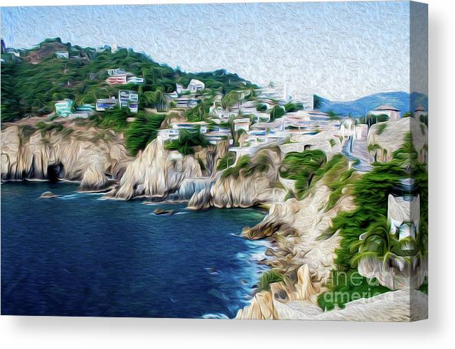 Cliffs In Alcapulco Canvas Print featuring the digital art Cliffs in Acapulco Mexico I by Kenneth Montgomery