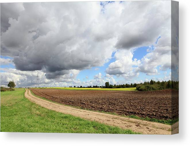 Scenics Canvas Print featuring the photograph Cloudy Agricultural Landscape by Dariuszpa