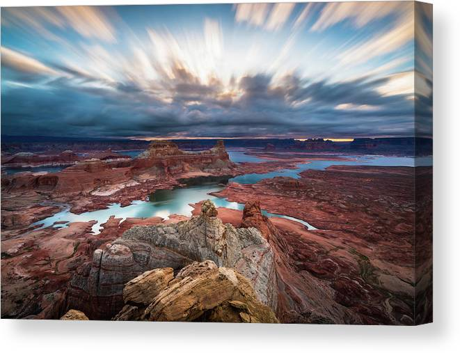 Lake Powell Canvas Print featuring the photograph Cloudy Morning at Lake Powell by James Udall