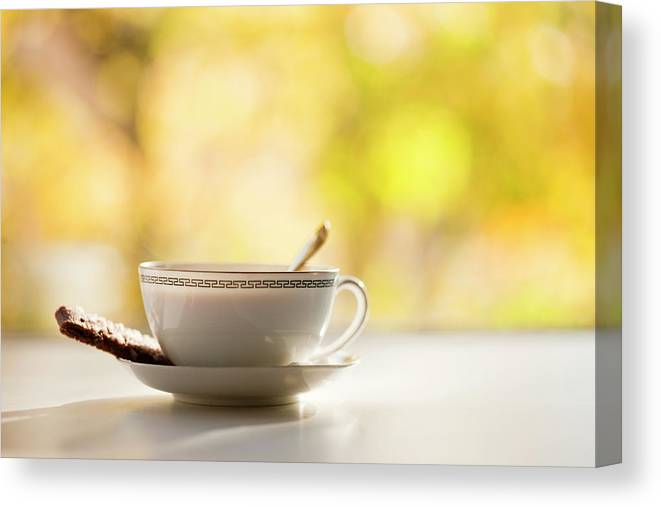 Food And Drink Canvas Print featuring the photograph Coffee Cup With Cookie, Still Life by Johner Images