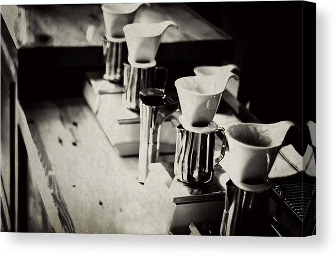 Retail Canvas Print featuring the photograph Coffee Shop by Hilde Wegner . Photography