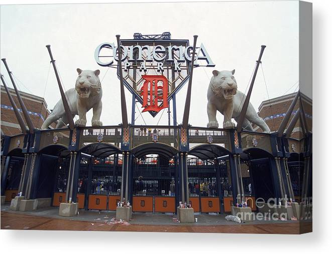 American League Baseball Canvas Print featuring the photograph Comerica Park by Harry How