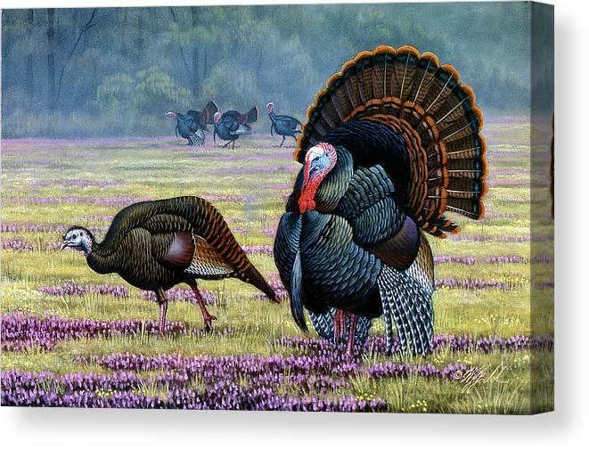 Wild Turkeys Canvas Print featuring the painting Commanding Attention by Wilhelm Goebel