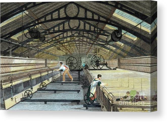 Working Canvas Print featuring the drawing Cotton Manufacture Mule Spinning, C1830 by Print Collector