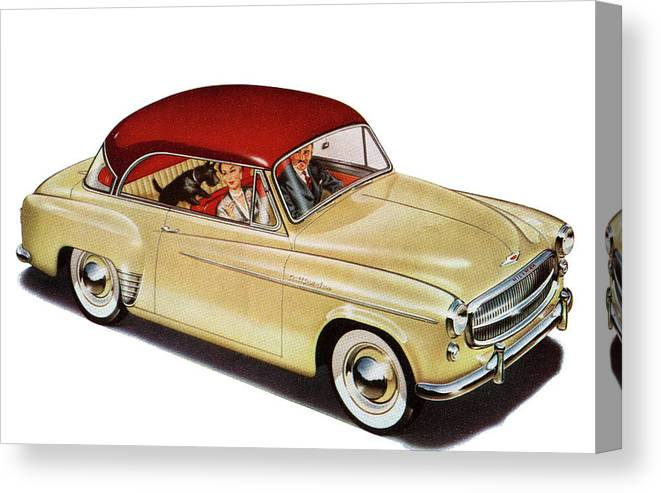 Pets Canvas Print featuring the photograph Couple In Car With Scotty Dog by Graphicaartis