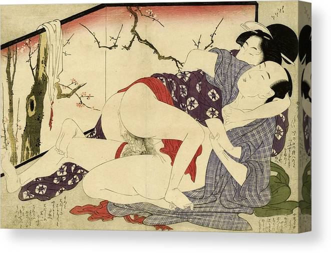Couple Canvas Print featuring the painting Couple Making Love near a Room Divider, 1799 by Kitagawa Utamaro