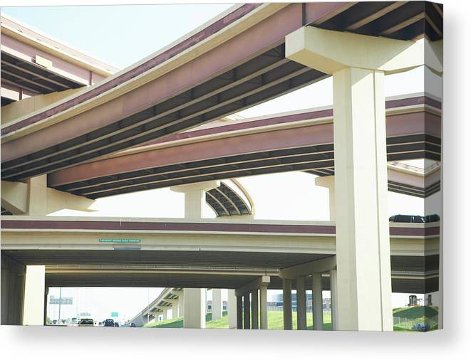 Crisscross Canvas Print featuring the photograph Crisscrossing Freeway Overpasses by Siri Stafford