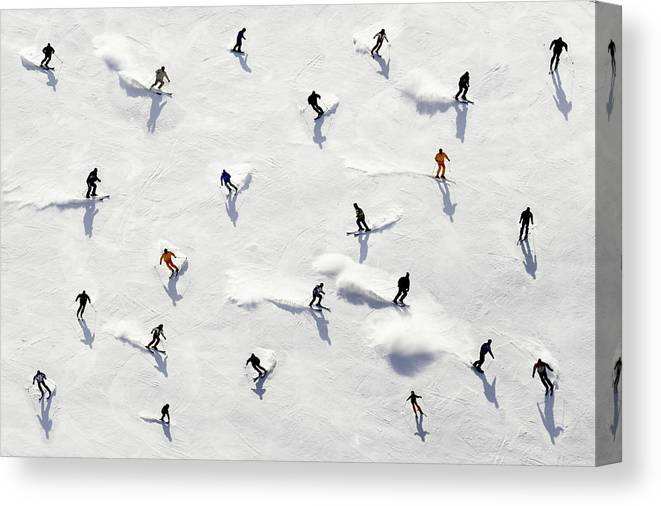 Skiing Canvas Print featuring the photograph Crowded Holiday by Mistikas